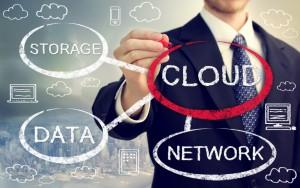 Cloud computing flowchart with businessman over skyline background